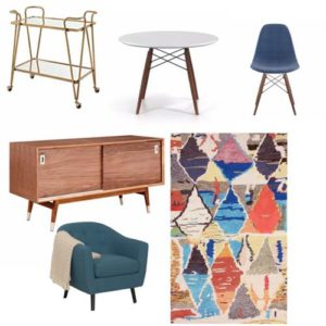 Mid century modern furniture - table, chairs, rug, buffet and dining cart
