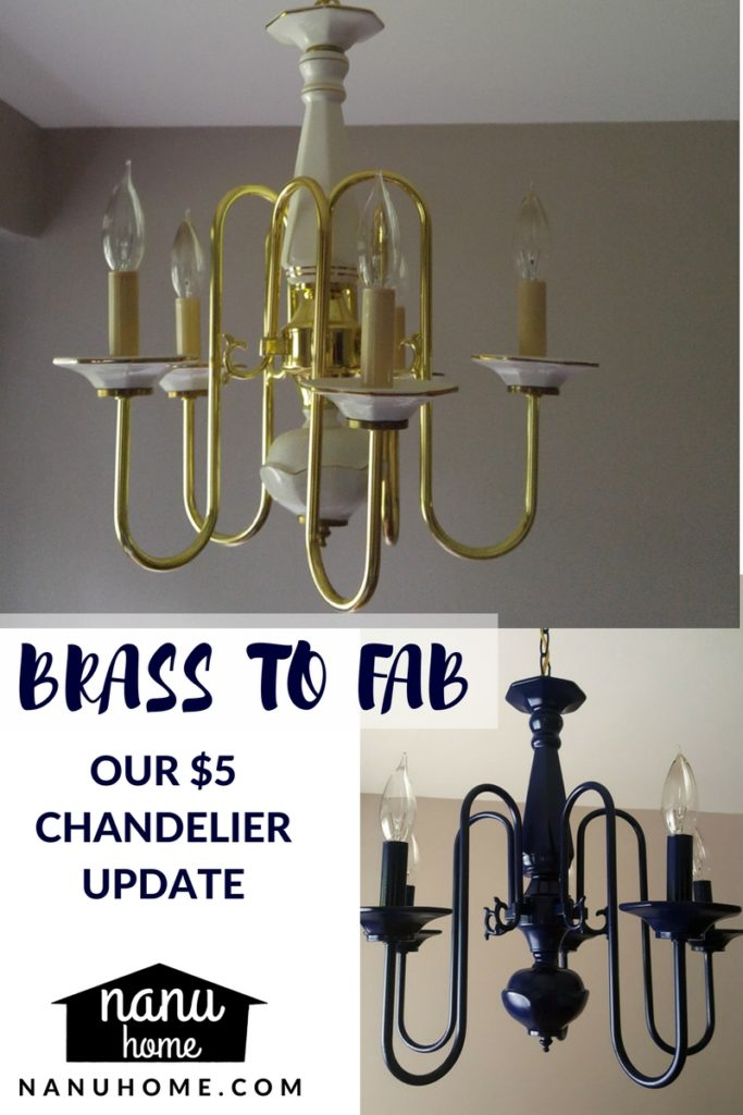 Before and after photo of our chandelier.
