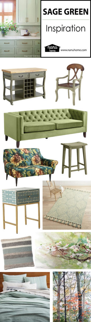 sage green inspiration board all items described below